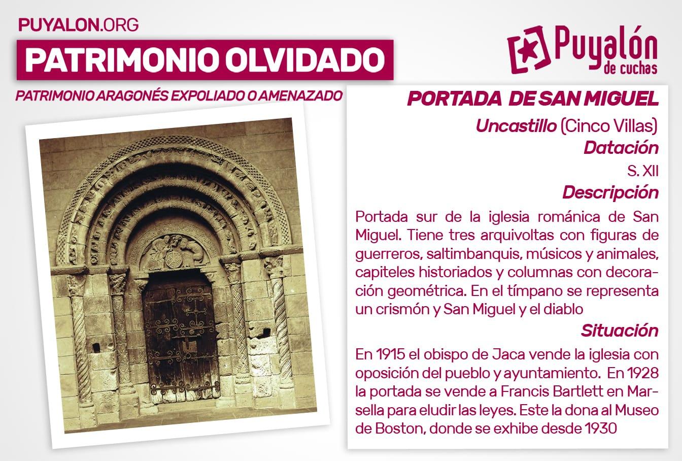 Portada de la iglesia de San Miguel de Uncastillo